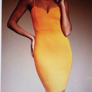 Lulus Orange Sleeveless Bodycon Dress Size L